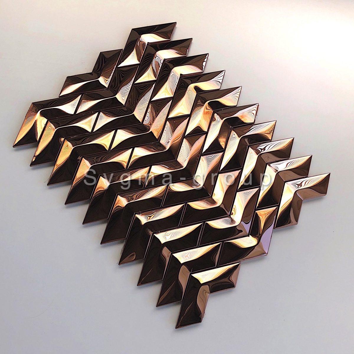 Plaque de carrelage mosaique en acier inoxydable pour un mur de cuisine ou de salle de bains modele VERNET